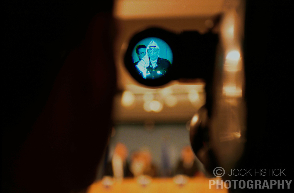 BRUSSELS, BELGIUM - MAY 31, 2001 - Yasser Arafat, leader of the PLO answers questions during a news conference at  the European Commission, in Brussels, Thursday. (PHOTO © JOCK FISTICK)