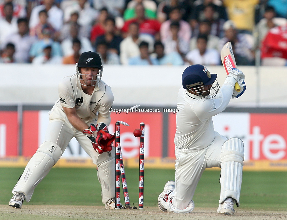 Indian Batsman Virender Sehwag Bowld By Daniel Vettori During The 2nd Test Match India vs New Zealand Played at Rajiv Gandhi International Stadium, Uppal, Hyderabad 13, November 2010 (5-day match)