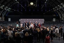© Licensed to London News Pictures . 26/05/2019. Manchester, UK. L-R winners CLAIRE FOX (Brexit Party), THERESA GRIFFIN (Labour Party), HENRIK NIELSEN (Brexit Party), GINA DOWDING (Green Party), CHRIS DAVIES (Liberal Democrats), JULIE WARD (Labour Party), DAVID BULL (Brexit Party), JANE BROPHY (Liberal Democrats) . The count for seats in the constituency of North West England in the European Parliamentary election , at Manchester Central convention centre . Photo credit: Joel Goodman/LNP