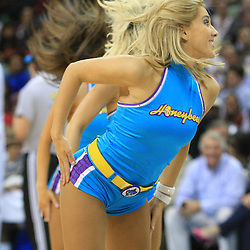 06 February 2009:  A New Orleans Hornets Honeybee cheerleader performs during a NBA game between the New Orleans Hornets and the Toronto Raptors at the New Orleans Arena in New Orleans, LA.