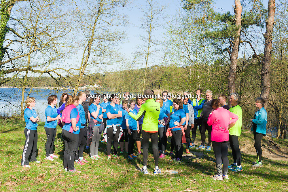 Nederland, Vught, 20150418.<br /> De laatste dag van Start-to-Run in Vught.<br /> De 3 km loop<br /> Loopschool Wim Akkermans