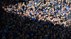 Everton Fans watch on from the stand. - Mandatory by-line: Alex James/JMP - 23/04/2016 - FOOTBALL - Wembley Stadium - London, England - Everton v Manchester United - The Emirates FA Cup Semi-Final