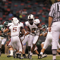 20 September 2008: Louisiana-Monroe quarterback Kinsmon Lancaster (7) handsoff to Louisiana-Monroe running back Frank Goodin (5) during a Conference USA match up between the University of Louisiana Monroe and Tulane at the Louisiana Superdome in New Orleans, LA.