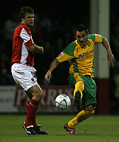 Photo: Paul Thomas.<br /> Rotherham United v Norwich City. Carling Cup. 19/09/2006.<br /> <br /> Ian Sharps of Rotherham and Peter Thorrne (R) of Norwich.