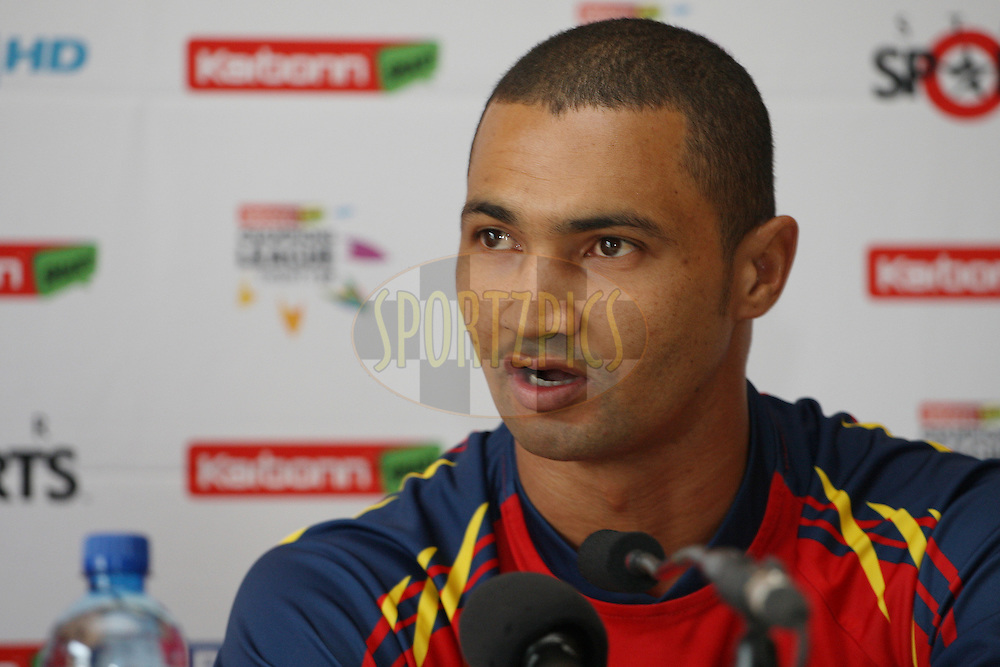 Alviro Petersen during the pre-final press conference in the Karbonn Smart CLT20 held at the Sandton Convention Centre, Johannesburg, South Africa on the 27th October 2012. Photo by Jacques Rossouw/SPORTZPICS/CLT20
