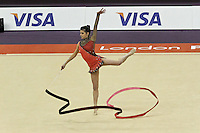 LONDON - JANUARY 18:  Visa International Rhythmic Gymnastics - Ribbon Individual All Round Final - London 2012 Olympics Test Event at the North Greenwich Arena, London, UK on January 18, 2012. (Photo by Richard Goldschmidt)