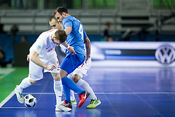 Michal Kubik of Poland and Taynan of Kazakhstan during futsal match between Poland and Kazakhstan at Day 3 of UEFA Futsal EURO 2018, on February 1, 2018 in Arena Stozice, Ljubljana, Slovenia. Photo by Urban Urbanc / Sportida