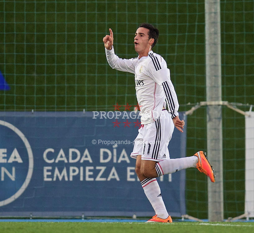 MADRID, SPAIN - Tuesday, November 4, 2014: Real Madrid CF's Ruben Molina celebrates scoring the fourth goal against Liverpool during the UEFA Youth League Group B match at Ciudad Real Madrid. (Pic by David Rawcliffe/Propaganda)