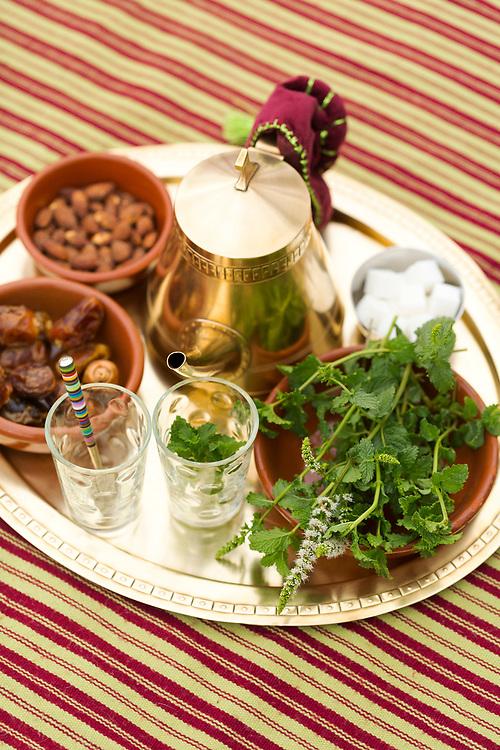 Moroccan mint tea at Scorpion House, Moulay Idriss Zerhoun, Middle Atlas, Morocco, 2016-08-15.