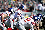New York Giants quarterback Eli Manning (10) directs the offense at the line of scrimmage during the NFL week 8 football game against the Philadelphia Eagles on Sunday, Oct. 27, 2013, at Lincoln Financial Field in Philadelphia, Pennsylvania. The Giants won the game 15-7. (Joe Robbins)