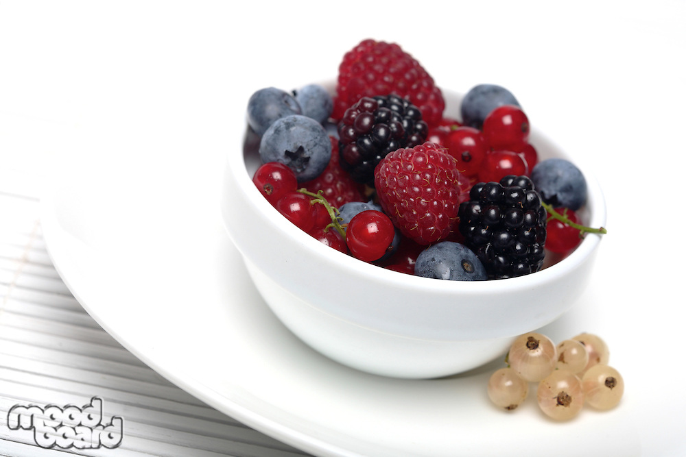 Berries on white background - close-up