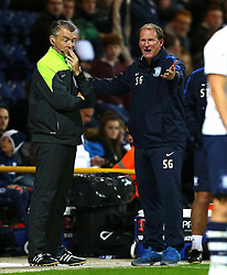 Preston North End Manager, Simon Grayson complains to the fourth official- Mandatory byline: Matt McNulty/JMP - 07966386802 - 22/09/2015 - FOOTBALL - Deepdale Stadium -Preston,England - Preston North End v Bournemouth - Capital One Cup - Third Round