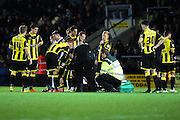 Concern for Burton Albion defender Phil Edwards during the Sky Bet League 1 match between Burton Albion and Millwall at the Pirelli Stadium, Burton upon Trent, England on 1 December 2015. Photo by Aaron Lupton.
