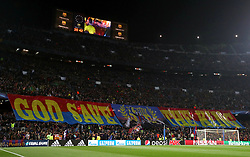 A general view of Barcelona fans holding a God Save The King banner