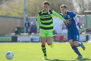 Forest Green Rovers midfielder Charlie Cooper (20) battles for possession with North Ferriby United midfielder Danny Emerton (6) 0-0 during the Vanarama National League match between Forest Green Rovers and North Ferriby United at the New Lawn, Forest Green, United Kingdom on 1 April 2017. Photo by Alan Franklin.