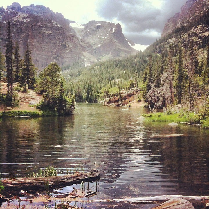 Hiking in the Rocky Mountains to Mills Lake, Rocky Mountain National Park, Colorado.
