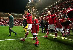 Bristol City mascots walk out at Ashton Gate with the players - Mandatory by-line: Robbie Stephenson/JMP - 23/01/2018 - FOOTBALL - Ashton Gate Stadium - Bristol, England - Bristol City v Manchester City - Carabao Cup Semi Final second leg