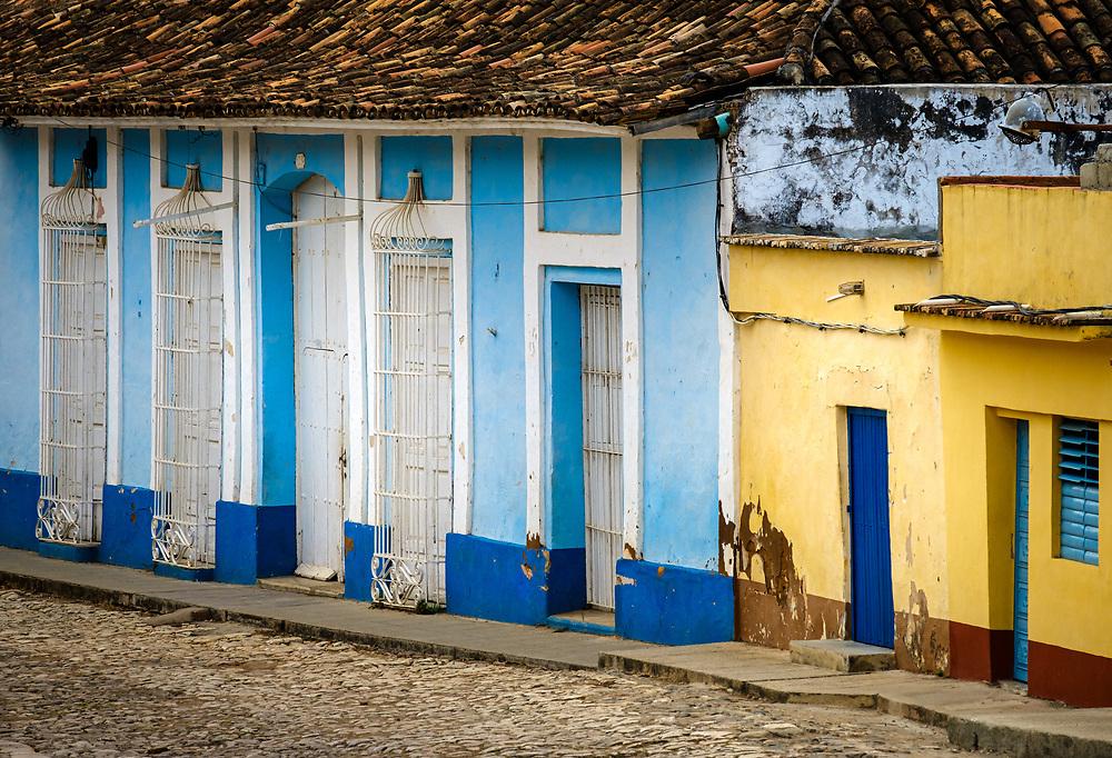TRINIDAD, CUBA - CIRCA JANUARY 2020: Shadows on a typical street of Trinidad.