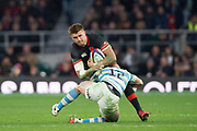 Twickenham, Surrey United Kingdom. Henry SLADE, tackled low by Santiago GONZALEZ-INGESIAS,  during the England vs Argentina. Autumn International, Old Mutual Wealth series. RFU. Twickenham Stadium, England. <br /> <br /> Saturday  11.11.17.    <br /> <br /> [Mandatory Credit Peter SPURRIER/Intersport Images]