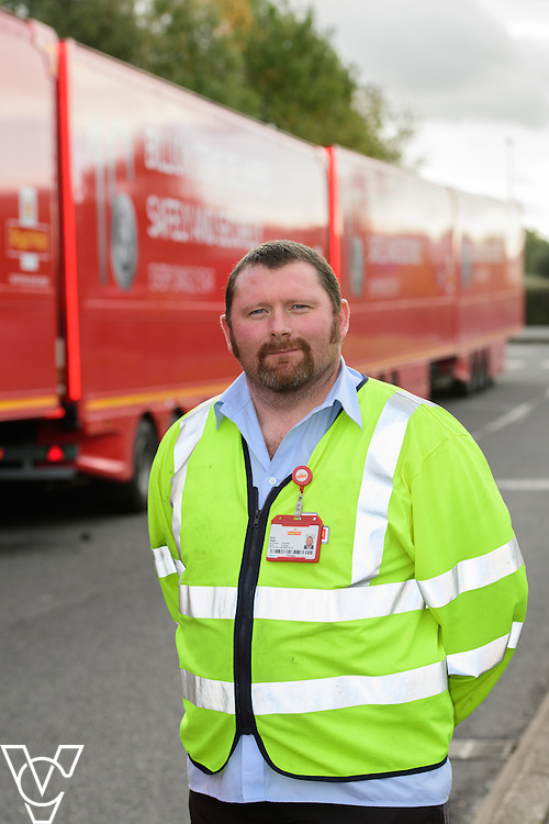 Pictured is driver Ryan Doyle with the double decker trailers.<br /> <br /> Royal Mail is rolling out 400 new double decker trailers (called 95's), which feature a rising platform to provide two layers of storage.   They are currently used for transporting Yorks, but at the end of October, Yorkshire Distribution Centre is going to use them to loose load 16,000 packages - double the current capacity of the single trailers.<br /> <br /> Picture: Chris Vaughan Photography<br /> Date: October 17, 2016