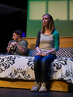 "Teghan Kelly (Lizzie) tells Evan Clinton (Danny) that she's pregnant during a scene in ""Baby"" the musical at the Winnipesaukee Playhouse on Monday evening.  (Karen Bobotas/for the Laconia Daily Sun)"