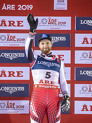 11.02.2019, Aare, SWE, FIS Weltmeisterschaften Ski Alpin, alpine Kombination, Herren, Siegerpräsentation, im Bild Bronzemedaillengewinner Marco Schwarz (AUT) // Bronze medalist Marco Schwarz of Austria during the winner presentation of the men's alpine combination for the FIS Ski World Championships 2019. Aare, Sweden on 2019/02/11. EXPA Pictures © 2019, PhotoCredit: EXPA/ Johann Groder