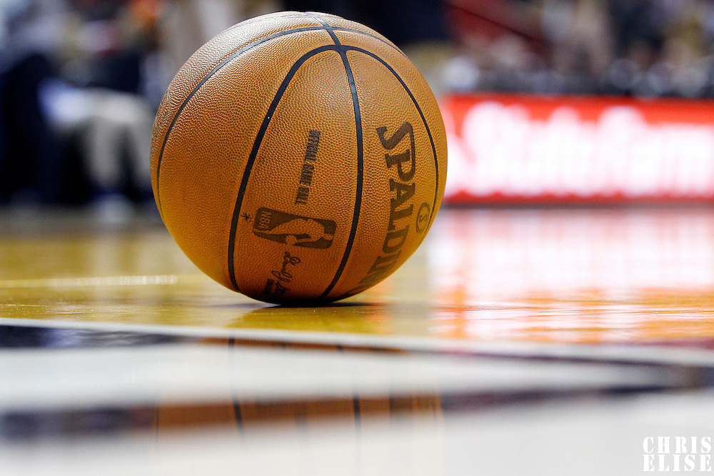 21 January 2012: Close view of a ball during the Miami Heat 113-92 victory over the Philadelphia Sixers at the AmericanAirlines Arena, Miami, Florida, USA.