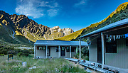 Sunset at Shelter Rock Hut on Rees-Dart Track in Mount Aspiring National Park, Otago region, South Island of New Zealand. This image was stitched from multiple overlapping photos.