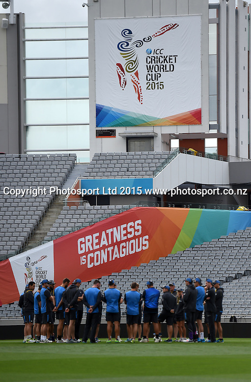 Team huddle during training at Eden Park in Auckland ahead of the semi final Cricket World Cup match against South Africa tomorrow. Monday 23 March 2015. Copyright photo: Andrew Cornaga / www.photosport.co.nz