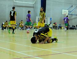 Gloucestershire Futsal player shows dejection after the final whistle is blown- Photo mandatory by-line: Nizaam Jones - Mobile: 07966 386802 - 08/02/2015 - SPORT - Football - Gloucestershire - GL1 Leisure Centre - Gloucestershire Futsal v BCFC Futsal - Futsal