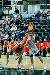 BLOOMINGTON, IL - December 15: Tyler Ingebrigtsen and Jason Gregoire during a college basketball game between the IWU Titans  and the Carroll Pioneers on December 15 2018 at Shirk Center in Bloomington, IL. (Photo by Alan Look)