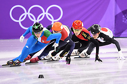 PYEONGCHANG, Feb. 10, 2018  China's Fan Kexin (2nd R) competes during the women's 3000m relay heat of short track speed skating event of 2018 PyeongChang Winter Olympic Games at Gangneung Ice Arena, South Korea, Feb. 10, 2018. China advanced to the final in a time of 4:05.315 and set a new Olympic record of the event. (Credit Image: © Ju Huanzong/Xinhua via ZUMA Wire)