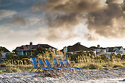Beach chairs ready for tourists on Isle of Palms at Wild Dunes resort near Charleston, South Carolina.