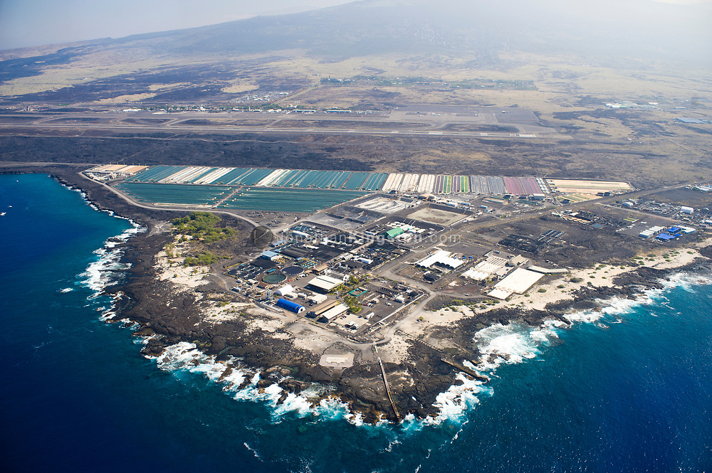 Aerial view of an algae farm near Kona, Hawaii.