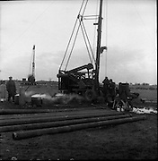 Lead Mines at Loughrea..1962..08.01.1962..01.08.1962..8th January 1962..Prospecting started in Loughrea in what is thought to be lead deposits beneath the lands of several small farms in the area...Picture shows the drill rigs in position on the farm in Loughrea.