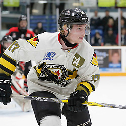 TRENTON, ON  - MAY 5,  2017: Canadian Junior Hockey League, Central Canadian Jr. &quot;A&quot; Championship. The Dudley Hewitt Cup. Game 7 between The Georgetown Raiders and The Powassan Voodoos.  Parker Bowman #17 of the Powassan Voodoos during the first period <br /> (Photo by Amy Deroche / OJHL Images)