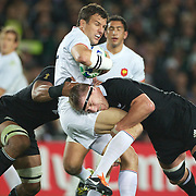 Damien Traille, France, is tackled by Brad Thorn  during the New Zealand V France Final at the IRB Rugby World Cup tournament, Eden Park, Auckland, New Zealand. 23rd October 2011. Photo Tim Clayton...
