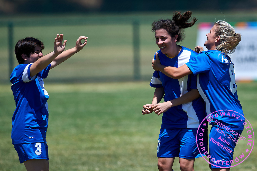 SO Greece athlete celebrates with team mates after scoring while football women match 7-a-side during fourth day of the Special Olympics World Games Los Angeles 2015 on July 28, 2015 at Balboa Sports Centre in Los Angeles, USA.<br /> USA, Los Angeles, July 28, 2015<br /> <br /> Picture also available in RAW (NEF) or TIFF format on special request.<br /> <br /> For editorial use only. Any commercial or promotional use requires permission.<br /> <br /> Adam Nurkiewicz declares that he has no rights to the image of people at the photographs of his authorship.<br /> <br /> Mandatory credit:<br /> Photo by &copy; Adam Nurkiewicz / Mediasport