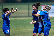 SO Greece athlete celebrates with team mates after scoring while football women match 7-a-side during fourth day of the Special Olympics World Games Los Angeles 2015 on July 28, 2015 at Balboa Sports Centre in Los Angeles, USA.<br /> USA, Los Angeles, July 28, 2015<br /> <br /> Picture also available in RAW (NEF) or TIFF format on special request.<br /> <br /> For editorial use only. Any commercial or promotional use requires permission.<br /> <br /> Adam Nurkiewicz declares that he has no rights to the image of people at the photographs of his authorship.<br /> <br /> Mandatory credit:<br /> Photo by © Adam Nurkiewicz / Mediasport