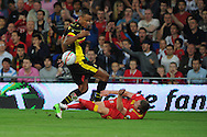 Simon Church of Wales is fouled by Belgium's Vincent Kompany. World cup 2014 qualifying match, Group A, Wales v Belgium at the Cardiff city stadium in Cardiff, South Wales on Friday 7th Sept 2012.  pic by  Andrew Orchard, Andrew Orchard sports photography,