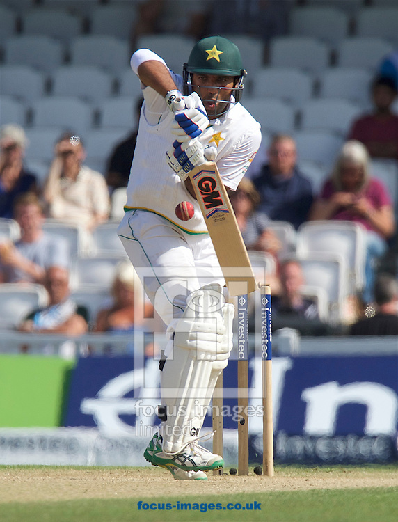Sami Aslam of Pakistan batting during Day Four of the fourth Investec Test Match at the Kia Oval, London<br /> Picture by Alan Stanford/Focus Images Ltd +44 7915 056117<br /> 14/08/2016