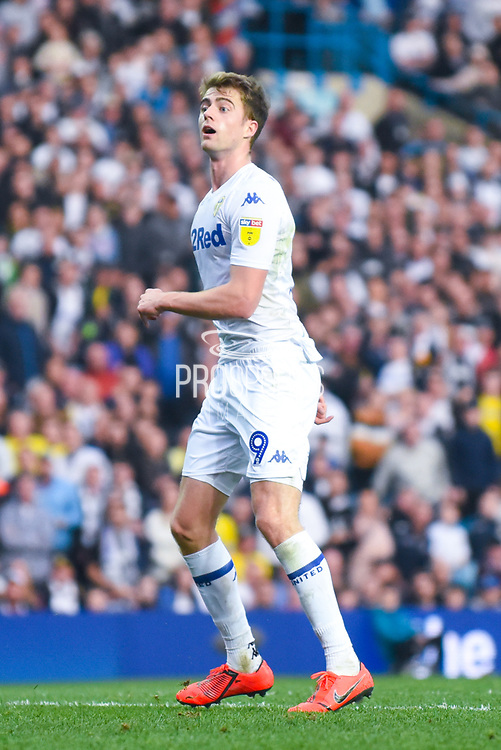 Patrick Bamford of Leeds United (9) watches his shot on goal during the EFL Sky Bet Championship match between Leeds United and Bolton Wanderers at Elland Road, Leeds, England on 23 February 2019.