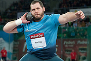 Ryan Whiting of USA competes at men's shot put during athletics meeting Pedro's Cup 2014 2014 at Luczniczka Hall in Bydgoszcz, Poland.<br /> <br /> Poland, Bydgoszcz, January 31, 2014.<br /> <br /> Picture also available in RAW (NEF) or TIFF format on special request.<br /> <br /> For editorial use only. Any commercial or promotional use requires permission.<br /> <br /> Mandatory credit:<br /> Photo by &copy; Adam Nurkiewicz / Mediasport