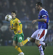 Carlisle - Saturday November 28th, 2009: Danny Livesy of Carlisle United and Wesley Houlahan of Norwich City during the FA Cup second round match at Brunton Park, Carlisle. (Pic by Andrew Stunell/Focus Images)..