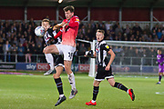 Salford City midfielder Danny Whitehead challenged by the opponent during the EFL Sky Bet League 2 match between Salford City and Grimsby Town FC at Moor Lane, Salford, United Kingdom on 17 September 2019.
