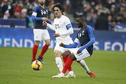 France's Tanguy Ndombele battling Uruguay's Edinson Cavani during France v Uruguay friendly football match at the Stade de France in Saint-Denis, suburb of Paris, France on November 20, 2018. France won 1-0. Photo by Henri Szwarc/ABACAPRESS.COM