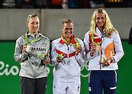 L-R. ANGELIQUE KERBER (GER) Silber Medaille, MONICA PUIG (PUR), Gold Medaille,PETRA KVITOVA (CZE), Bronze Medaille, Olympiade 2016, Siegerehrung, Medaillenpraesentation<br /> <br /> Tennis - Olympic Games 2016 - ITF  -   Olympic Tennis Centre - Rio De Janeiro -  - Brasilien  - 13 August 2016.