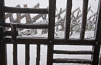 Mt. Rigi, Central Switzerland. An icy wooden gate and fence with delicate ice formations.