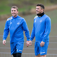St Johnstone Training....13.12.13<br /> Gary Miller pictured in training this morning with Tom Scobbie<br /> Picture by Graeme Hart.<br /> Copyright Perthshire Picture Agency<br /> Tel: 01738 623350  Mobile: 07990 594431