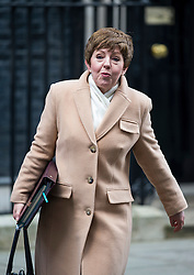 © Licensed to London News Pictures. 23/02/2016. London, UK. Leader of the House of Lords BARONESS STOWELL  leaves number 10 Downing Street in Westminster, London after cabinet meeting. Photo credit: Ben Cawthra/LNP